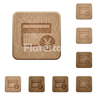 Yen credit card wooden buttons - Yen credit card on rounded square carved wooden button styles