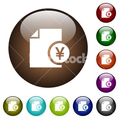 Yen financial report color glass buttons - Yen financial report white icons on round color glass buttons
