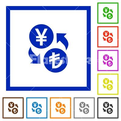 Yen Lira money exchange flat framed icons - Yen Lira money exchange flat color icons in square frames on white background