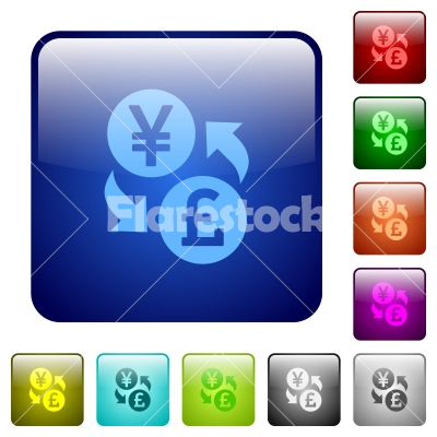 Yen Pound money exchange color square buttons - Yen Pound money exchange icons in rounded square color glossy button set
