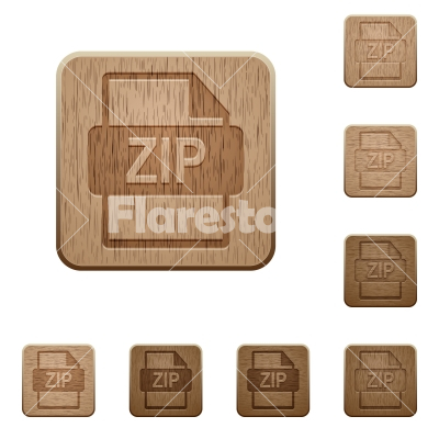 ZIP file format wooden buttons - Set of carved wooden ZIP file format buttons in 8 variations.