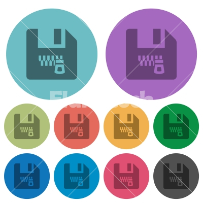 Zipped file color darker flat icons - Zipped file darker flat icons on color round background