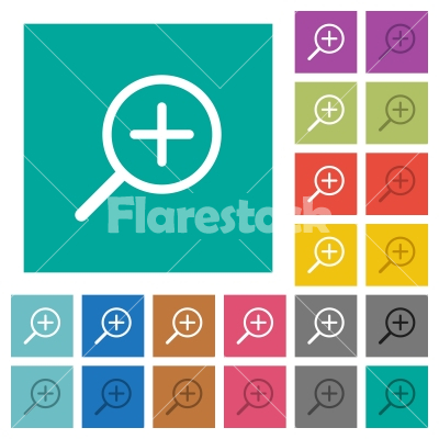 Zoom in square flat multi colored icons - Zoom in multi colored flat icons on plain square backgrounds. Included white and darker icon variations for hover or active effects.